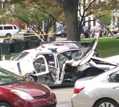 Instagram shot of crashed cop car.