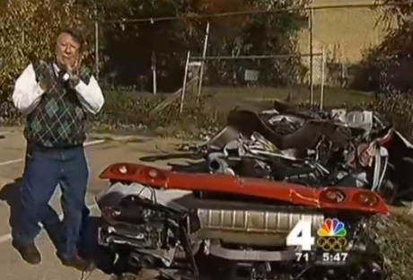 A burned out shell is all that remains of a Ferrari after a fiery crash on the George Washington Parkway. News4's Pat Collins reports.