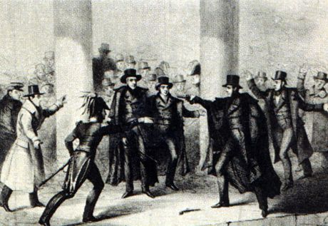An etching of the assassination attempt on President Andrew Jackson at the U.S. Capitol.