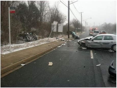 Two men were killed in a head-on collision with a taxi near the Landover metro station in Prince George's County. (Photo courtesy Prince George's County Police)