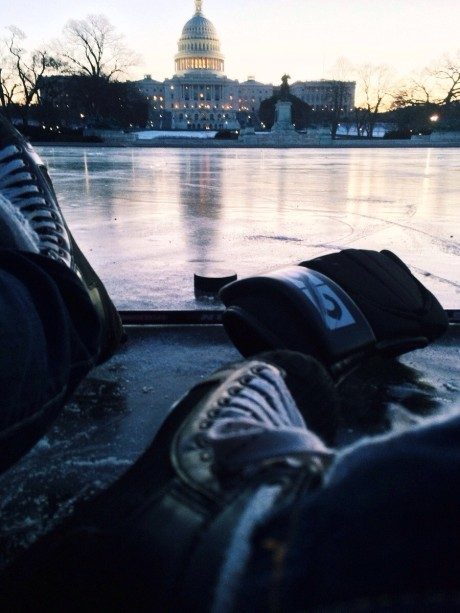 Keegan Bursaw told Sports Illustrated that he posted this photo earlier this week after he said he played hockey on the reflecting pool at the U.S. Capitol.