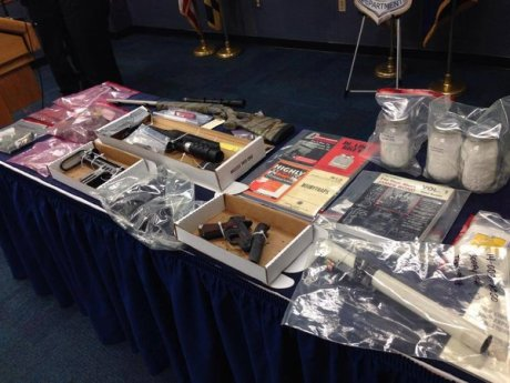 Maryland authorities on Tuesday showed off materials seized from the home of Todd Dwight Wheeler Jr. on New Year's Day. (Anne Arundel County, Md., Fire Department)