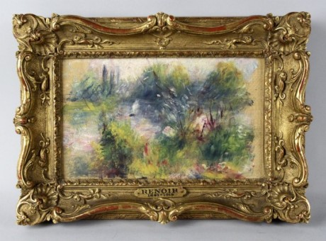 This image released by Potomack Company shows an apparently original painting by French impressionist Pierre-Auguste Renoir that was acquired by a woman from Virginia who stopped at a flea market in West Virginia and paid $7 for a box of trinkets that included the painting. Lawyers for Martha Fuqua, who is trying to reclaim the painting seized by the FBI in an ownership dispute say a Baltimore.