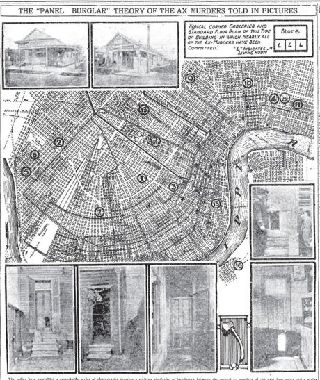 Illustrated map of scenes of the Axe murders of New Orleans, March 1919.