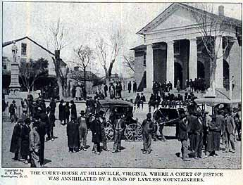 "The photocaption reads, ""The court-house at Hillsville, Va., where a court of justice was annihilated by a band of lawless mountaineers. (The Carroll County Historical Society and Museum.)"