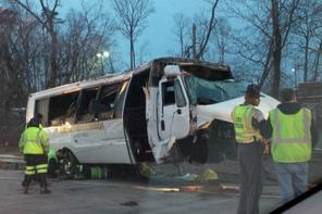 One person was killed in a hit-and-run bus crash on I-95 near Lorton. (Photo Virginia State Police)